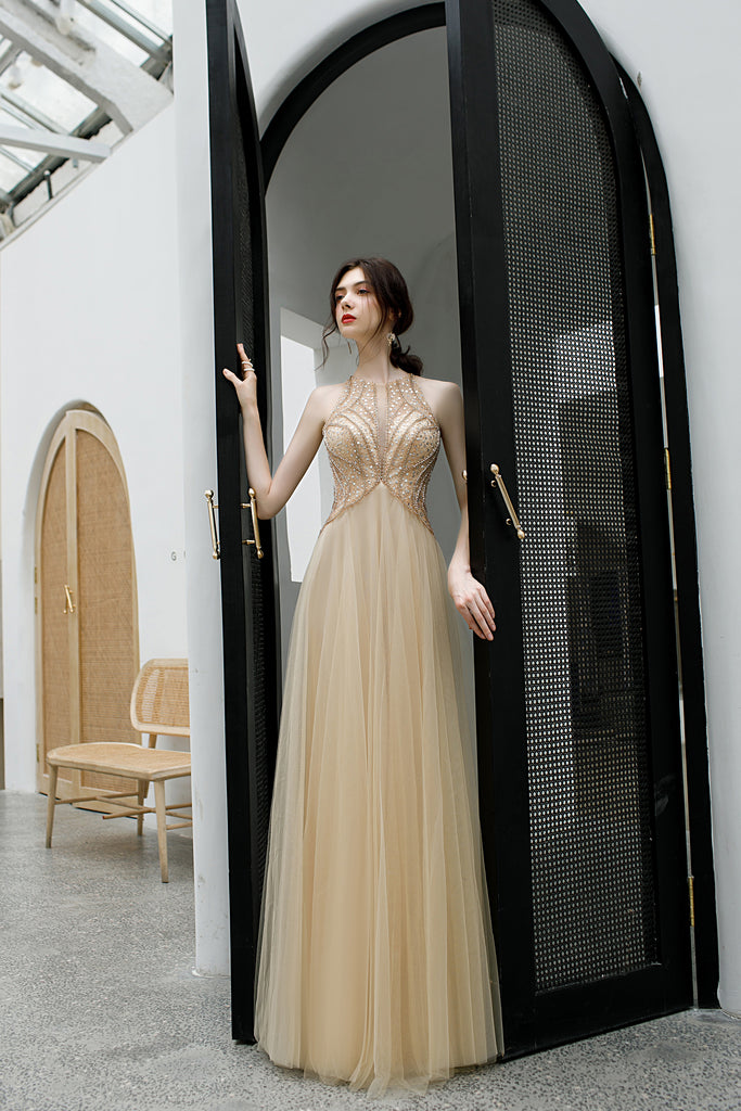 Elegant Sleeveless Tulle Prom Dress with Sequins, Floor Length Open Back Evening Dress N2663