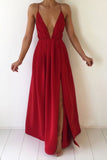 Red Deep V-neck Chiffon Backless Prom Dress with Slit,Sexy Evening Dresses,Maxi Dress,N699