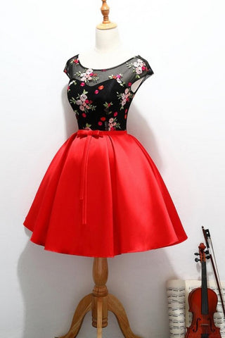 Black and Red Satin Homecoming Party Dresses with Applique, A Line Short Prom Dress