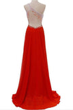 Red One Shoulder A-Line Rhinestone Bodice Chiffon Long Bridesmaid Dress,Prom Gown,N716