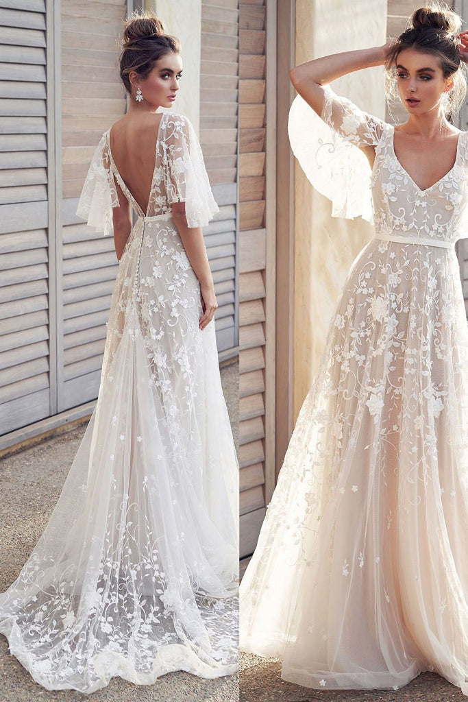 Ivory V Neck Beach Wedding Dresses with Lace Appliques, Romantic Backless Bridal Dresses N2372