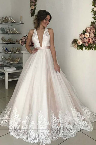 3c6440b1ed70f Romantic Wedding Dress, Long V-Neck Tulle Open Back Prom Gown with Lace  N1256
