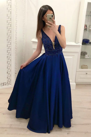 Royal Blue A Line Satin Prom Dresses Sparkly Beading Sleeveless