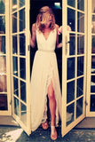Charming Ivory Lace Long Beach Wedding Dress With Side Slit,V-neck Sleeveless Bridal Dress,S10