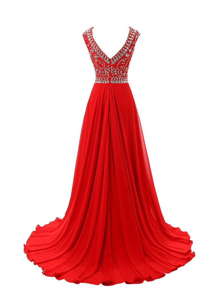 Charming Red Long Chiffon Prom Dress Evening Dress SD04