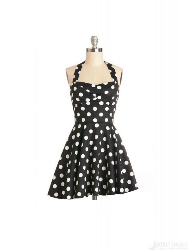 Retro Halter Polka Dot Print Sleeveless Woman Dress SD8