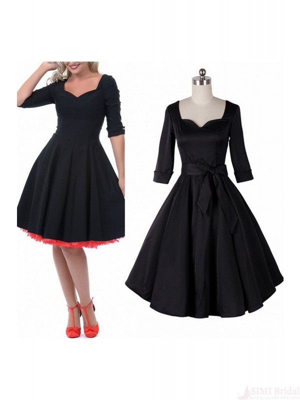 Plus Size Vintage Flounced 3/4 Sleeve Women Dress SD20