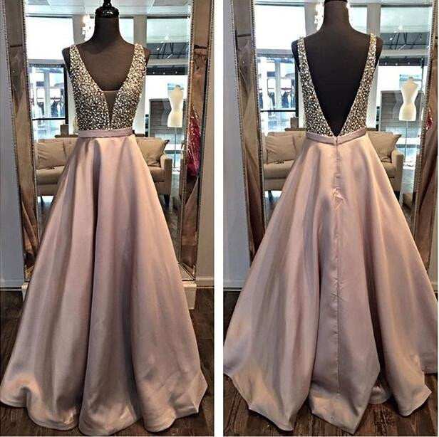 Beading Backless A-line Satin Formal Dress,Beaded Prom Dress Long,Formal Dress Long,N132