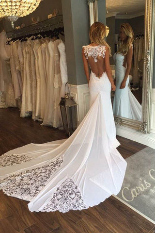 See Through Sheath Sleeveless Long Beach Wedding Dress With LaceBridal DressN624