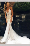 Luxurious Straps Mermaid Sleeveless Long Deep V-neck Tulle Wedding Dress with Lace,N525