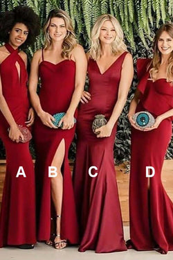 Sexy Mermaid Mismatched Red Satin Long Bridesmaid Dresses, Sheath Prom Dress N1480
