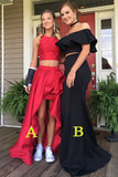 Two Piece A-line Red Jewel Sleeveless Long Prom Dress