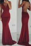 Sexy Burgundy Backless V Neck Long Prom Dress,Cheap Spaghetti Straps Evening Gown,N700