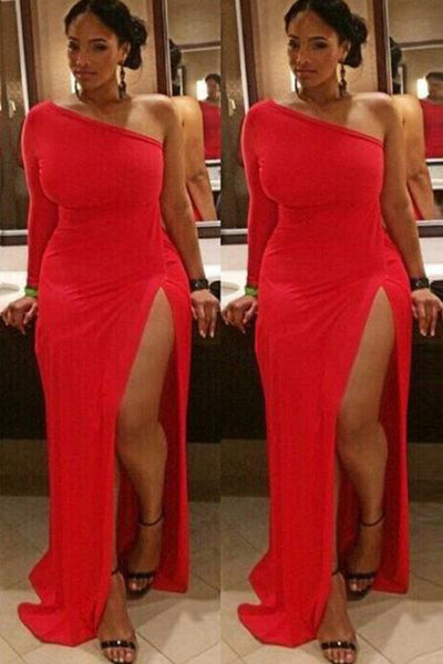 Sheath Long Sleeves One Shoulder Split Floor Length Prom Dress, Sexy Red Evening Dress N1218