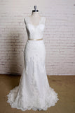 Sheath V Neck Sleeveless Lace Bridal Dress, Sweep Train Tulle Beach Wedding Gown N819