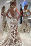 Ivory Sheer Back Jewel Neck Trumpet/Mermaid Lace Tulle Long Wedding Dresses,N548