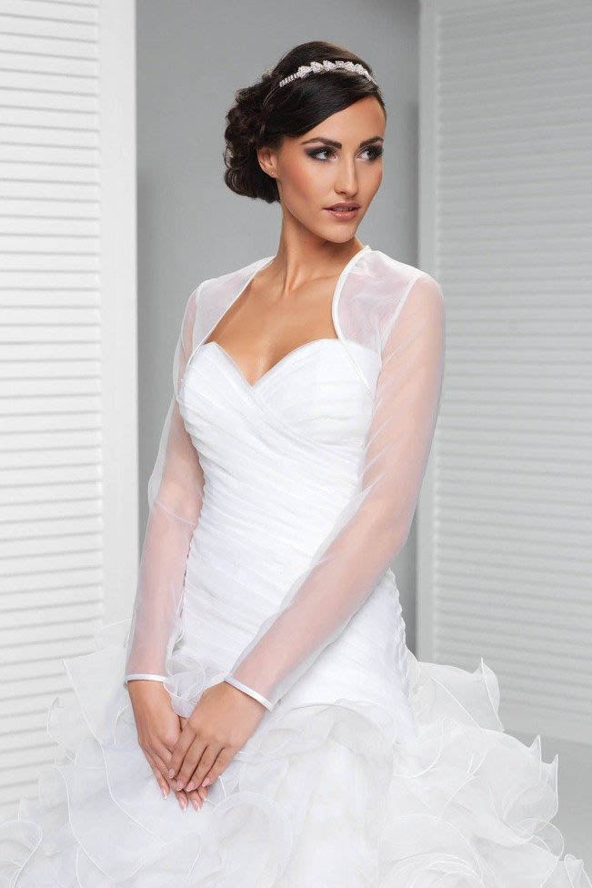 Simple Sheer Tulle Long Sleeve Weeding Bolero Shrug, Wedding Jacket