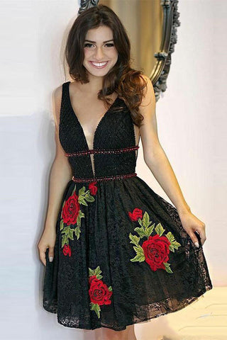 uk availability wholesale sales buy online Black Deep V Neck Lace Junior Homecoming Dresses with Flowers, Sexy Lace  Black Dress N1868