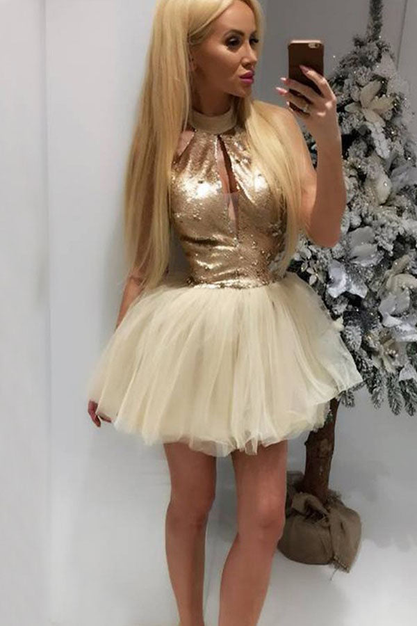 Sexy A-Line High Neck Champagne Short Tulle Homecoming Cocktail Dress with Keyhole