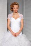 Simple Short Sleeve Illusion Tulle Weeding Jacket, Cheap Bridal Jackets