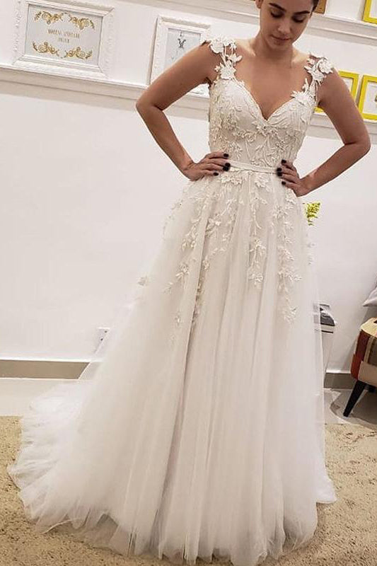 Simple Tulle Lace Illusion Back A Line Wedding Dresses A Line V