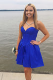 Royal Blue Strapless Sweetheart Homecoming Dress, Simple A Line Short Graduation Dress