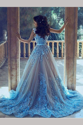 Blue Straps Hand Made Flowers Tulle Prom Dress,Wedding Dress with Beads,N599