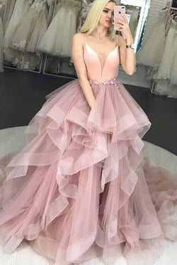 Spaghetti Strap V Neck Puffy Long Prom Dresses, Unique Long Party Dress with Ruffles N1757