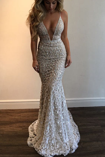 Spaghetti Straps Deep V-neck Sleeveless Mermaid Long Wedding Dresses,Prom Dress,N626