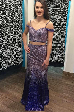 Spaghetti Straps Long Ombre Purple Sequined Prom Dresses, Two Piece Formal Dress N1695