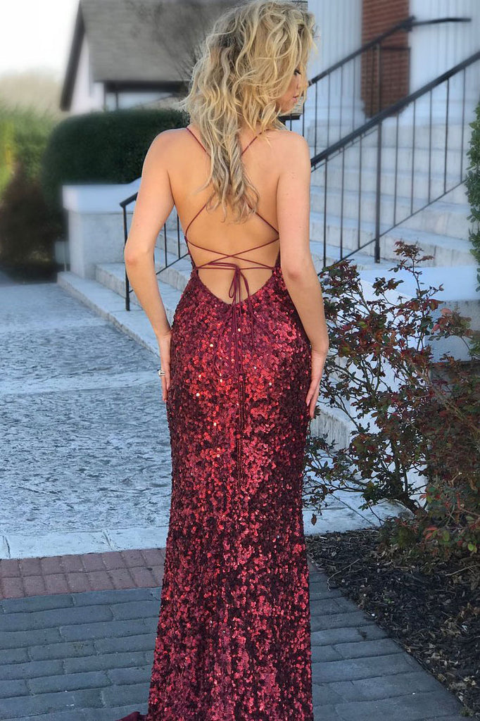 Spaghetti Straps Burgundy Mermaid Backless Long Sparkly Sequins Prom Dresses,N731