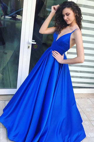 A-Line Royal Blue Spaghetti Straps Satin Prom Dress with Pleats,Graduation Gown,N729