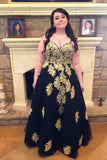 Black Spaghetti Straps Sleeveless Applique Floor-Length Tulle Plus Size Prom Dresses N775