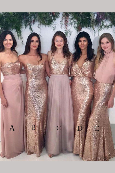 Blush Pink Sparkly Mismatched Rose Gold Sequin Floor-length diverse styles Bridesmaid Dress,N510