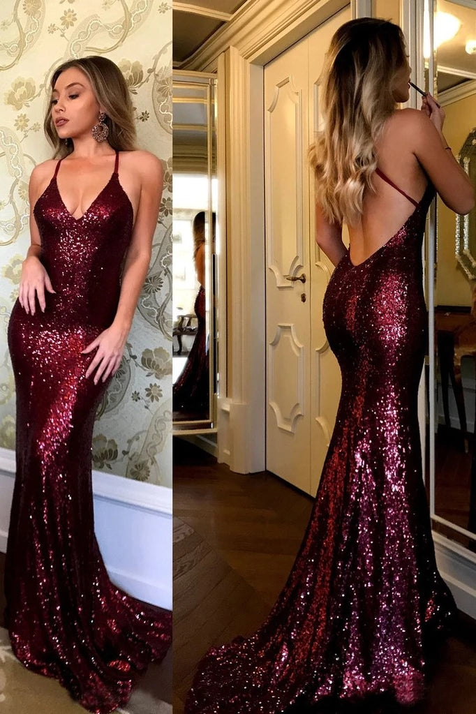 Sparkling Burgundy Sequins Mermaid V-neck Sweep Train Party Dress,Prom Gown,N555