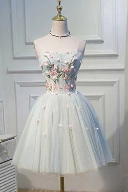 Strapless Homecoming Dress Flower Applique Short Tulle Graduation Dress N1945