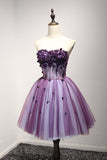 Purple Strapless Sleeveless Appliques Flower Short Formal Dresses with Belt N790