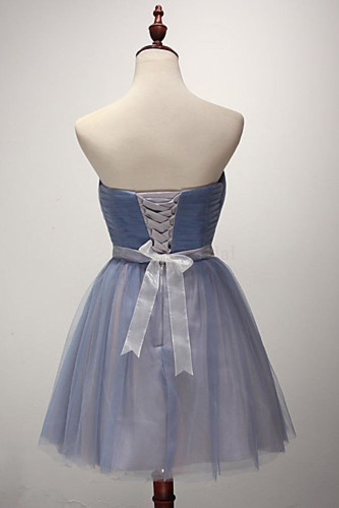 A-line Strapless Short Tulle Sash Homecoming Cocktail Party Dresses for Teens,N741
