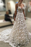 Stunning Deep V Neck Spaghetti Straps Lace Backless Court Train Wedding Gown,N628