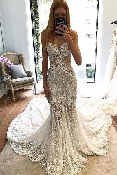 Stunning Lace Applique Sweetheart Strapless Mermaid Wedding Dress, Bridal Dress N1793