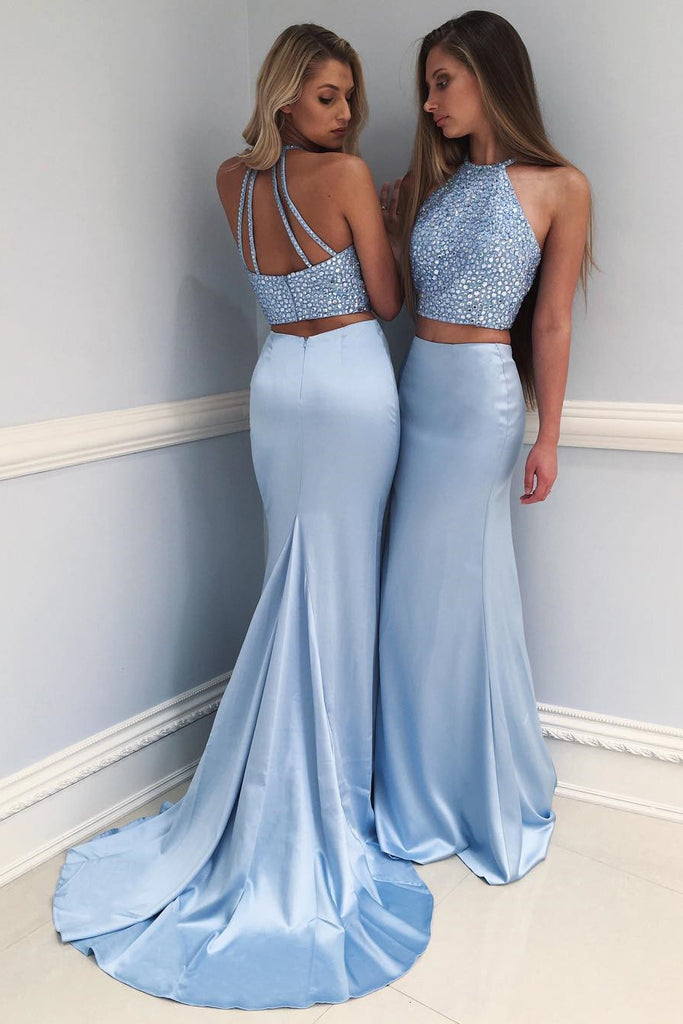 Stylish Sky Blue Two-Piece Beaded Long Prom Dress,Mermaid Evening Dress,N560