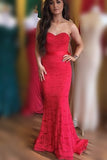 Elegant Sweetheart Mermaid Red Lace Long Prom Dress with Sash, Bridesmaid Dress N795