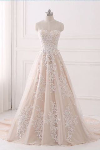 A Line Sweetheart Tulle Wedding Dress with Appliques,Strapless Prom Dresses N822