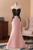 Cheap Pink Spaghetti Straps Sweetheart Long Mermaid Black Lace Prom Dress N816