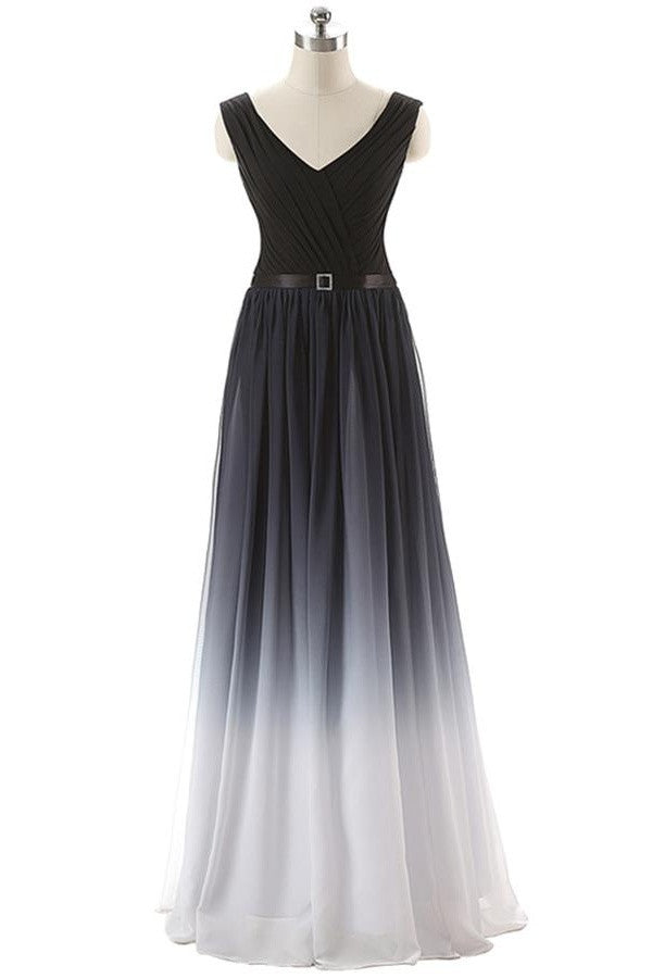 Real Beauty Gradient Chiffon Back Up Lace Prom Dresses SM6