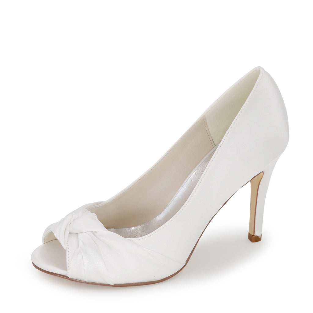 Ivory High Heels Wedding Shoes, Peep Toe Wedding Party Shoes, Fashion Shoes L-928