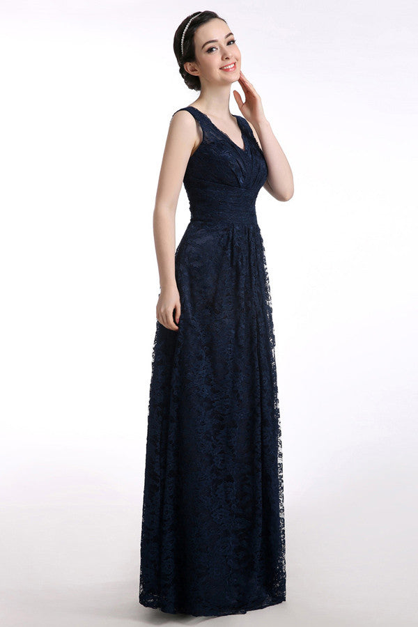 V-neck Lace Straps Navy Blue Long Prom Dress SD23