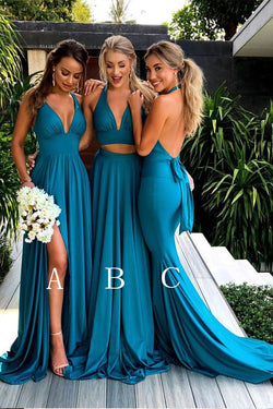 Teal Deep V Neck Sleeveless Bridesmaid Dresses, Mismatched Cheap Bridesmaid Gown N1518