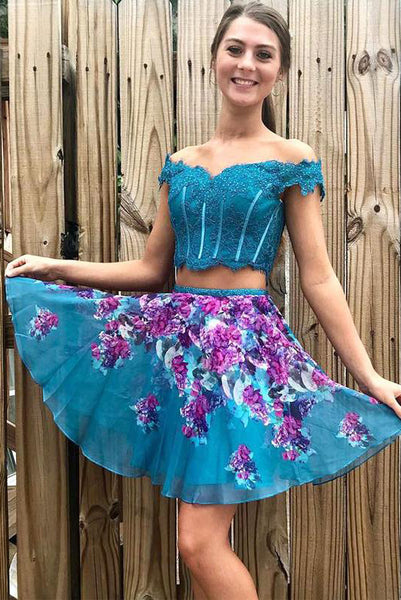 Two Piece Turquoise Off Shoulder Beading Lace Floral Homecoming Dresses N1807