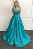 Cheap Turquoise Special A-line Strapless Long Prom Dress with Beads Sash,N581